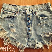 High Waist Denim Shorts Distressed Size by UnraveledClothing