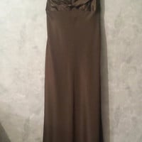 $595 David Meister EUC Olive Green Dress Formal Evening Prom Gown Elegant Size 2
