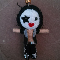 Kiss Metal Guitar Goth Rock Music Voodoo Doll Of String Funny Keyring Keychain Ring Key Chain Bag Car Link Funk Men Hard Cool Band Dark Deco
