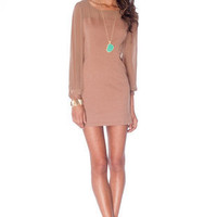 Kylie Contrast Shift Dress in Taupe :: tobi
