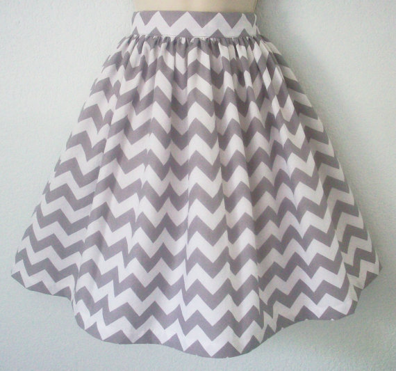 Driftwood Gray Chevron Full Skirt Womens Grey Zig by Eclectasie