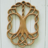 Tree of Life Celtic Wood Carved Knot - Yggdrasil - World Tree | signsofspirit - Woodworking on ArtFire
