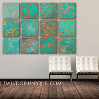 Industrial Copper Wall Art, - Huge 12 square panel ORIGINAL Abstract Painting - Copper Veins, Copper, Green, rust, brown, red, metal, orange