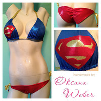 Sexy Superman designer bikini low rise Brazilian Swimsuit by oksanaweber