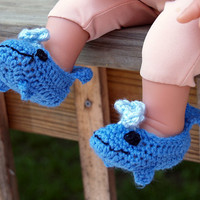 Whale Booties Newborn size by staceyLynnCreates on Etsy