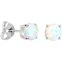 6mm Round Sterling Silver Synthetic Opal Stud Earrings | Body Candy Body Jewelry