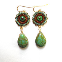 Earrings Mosaic Tribal Turquoise Green Topaz by SimoneSutcliffe