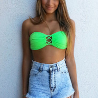 Tie Me Up Bandeau - Neon Green | ZOE Boutique