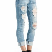 five pocket distressed jeans $34.50 in LIGHT - Jeans | GoJane.com