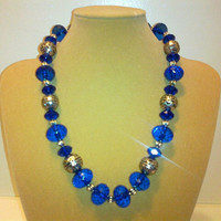 BLUE  VINTAGE LOOK Necklace by jewelryandmorebyjb on Etsy