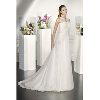 Taffeta and Lace Vintage Sleeveless A-line Wedding Dress