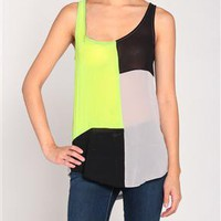 Blocks of Color Chiffon Jersey Tank in Heather Gray/Neon Lime