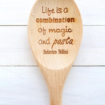 Engraved Kitchen Wooden Spoon - Pasta and Magic