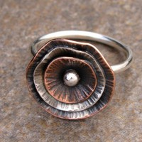 Copper and Sterling Poppy Ring by TammysTreasureChest on Etsy