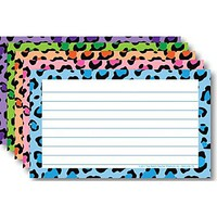 Top Notch Teacher Products® 3 x 5 Lined Border Index Card, Multi Colored Leopard