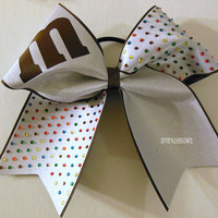 M and M Plain Rhinestone Large Cheer Bow Hair Bow Cheerleading
