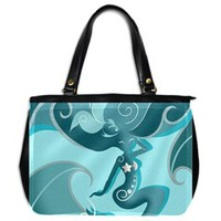 Blue Mermaid Oversize Office Handbag (One Side)