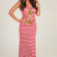 Sailing To Nowhere Dress: Red/White