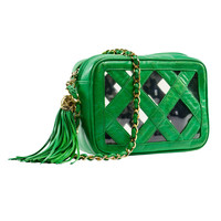 Chanel Vintage Green Lambskin Leather & Clear Camera Bag
