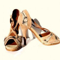Taupe Suede Strappy Stiletto with Peep Toe and Snakeskin Tri