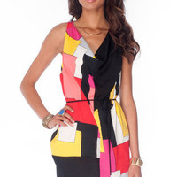 Geometry Tied Tunic Dress in Red Multi :: tobi