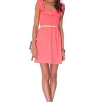 Rosa Ruffled Dress in Coral :: tobi