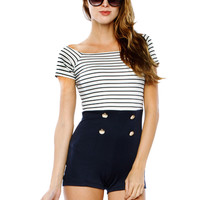 Papaya Clothing Online :: STRIPE BUTTON ROMPER