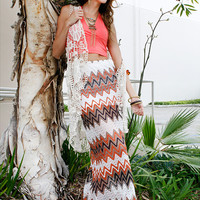 Papaya Clothing Online :: CHEVRON LACY MAXI SKIRTS
