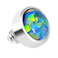 3mm Anodized Titanium Round Black Faux Opal Dermal Anchor Top | Body Candy Body Jewelry