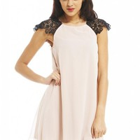 Peach Crochet Contrast Shoulder Dress