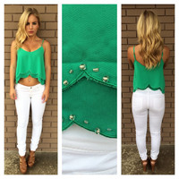 Green Beaded Crop Tank