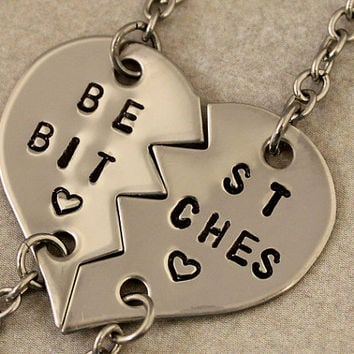 Best Btiches Bracelets - Hand Stamped Split Heart Bracelets- Best Friend Gift - BFF - Best Bitches