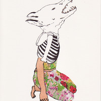 Wolf Wearing Flower Garment Card - Sian Zeng