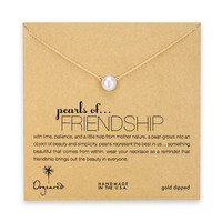 large pearls of friendship white pearl necklace, gold dipped - 18 inch
