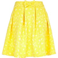 Yellow abstract print skater skirt