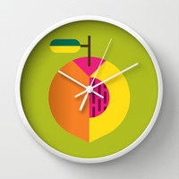 Fruit: Peach Wall Clock by Christopher Dina