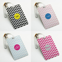 Personalized Luggage Tag, Bag Tag, Travel Tag, Suitcase Tag, Id tag, chevron zigzag style, Custom Name Monogram Inital with straps