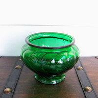 Green Glass Vase Vintage by Napco by EraGlassCo on Etsy