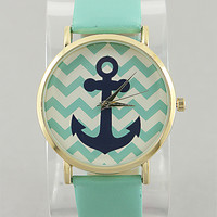 Mint Chevron Anchor Watch from P.S. I Love You More Boutique