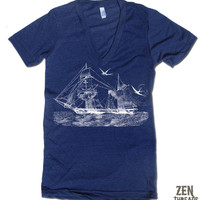 Vintage STEAMSHIP Unisex Deep V Neck american apparel XS S M L (10 Colors Available)