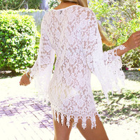 Ivory Crochet Boho Scallopped Lace Vintage Kimono sleeve Beach Dress with Lining