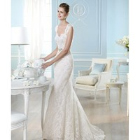 Amazing Mermaid Sweep V-neckline Lace Embroidery Wedding Dress
