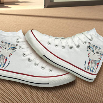 Hand Painted Unique Cat Design Converse Shoes