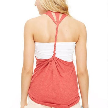 Feather Braid Back Tank - Red