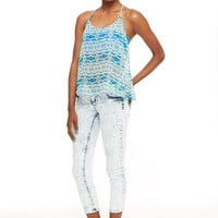 Jayden Low-Rise Double Button Skinny Crop in Acid Crackle