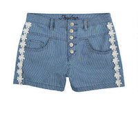 Skylar High-Rise Railroad Shorts with Daisies
