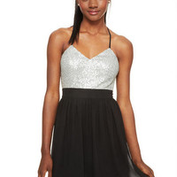 Spaghetti Strap Sequin Top Dress