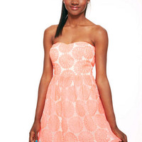 Strapless Organza Dress - Coral