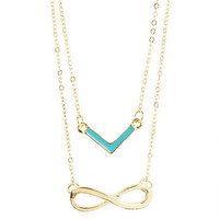 Chevron/Infinity Symbol Necklace Set