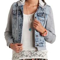 LAYERED FLEECE & DENIM JACKET